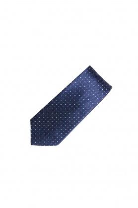 Cravata bleumarin cu picouri rosii si crem