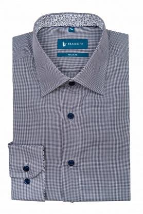 Camasa clasica alba in carouri bleumarin pentru barbati