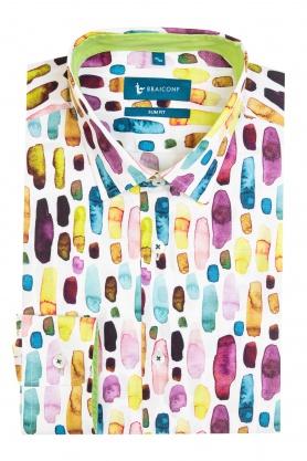 Camasa alba cu print multicolor pentru barbati