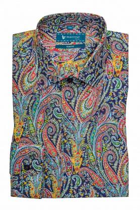 Camasa casual croita cu tipar cambrat, din tesatura de bumbac cu printuri paisley