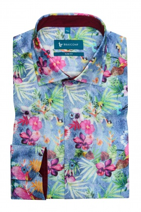 Camasa casual croita cu tipar cambrat, din tesatura de bumbac cu printuri multicolore