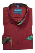 Camasa casual croita cu tipar cambrat si detalii de garnitura in contrast