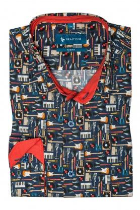 Camasa casual croita cu tipar cambrat, din tesatura cu printuri