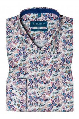 Camasa casual croita cu tipar clasic, din tesatura de bumbac cu imprimeu Paisley
