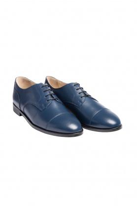 Model clasic Cap Toe Oxford albastri din piele naturală