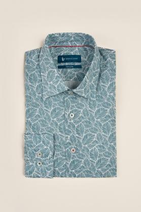 Casual & confortabil - Camasa cu print, maneca lunga, 45% bumbac + 55% in