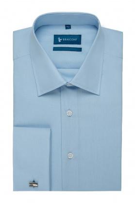Camasa easy-care bleu uni maneca lunga cu manseta dubla