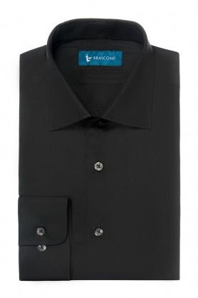 Camasa easy-care neagra uni maneca lunga cambrata