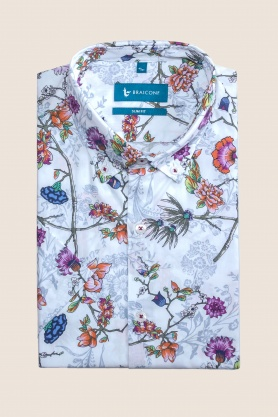 Casual & confortabil camasa cu print, maneca scurta -100% bumbac
